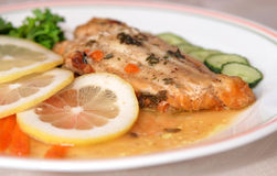 Fillet of fish and side salad Stock Photos