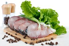 Fillet of fresh raw fish carp on a cutting board Stock Photo