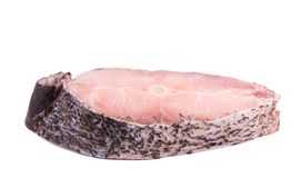 Fillet of fresh raw fish carp. Isolated on a white background Stock Photo