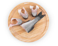 Fillet of fresh raw fish. On a cutting board Royalty Free Stock Images