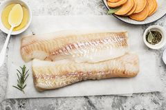 Fillet of fresh raw sea cod on a sheet of parchment on a simple light background with sea salt, ground pepper, sweet. Onion rosemary and lime slices before Royalty Free Stock Images