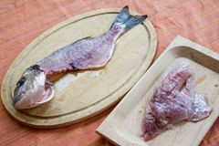 Fillet of  gilthead just filleted with its skeleton. Fillet of  gilthead just filleted with near the skeleton of the sea bream Royalty Free Stock Image