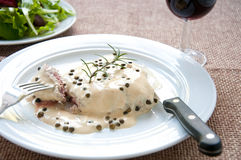Fillet with green pepper with cream gourmet Royalty Free Stock Photography