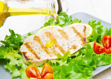 Fillet of grilled tuna with salad and tomatoes Stock Image