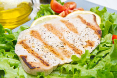 Fillet of grilled tuna with salad and tomatoes Stock Images