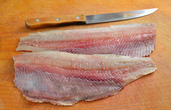 Fillet of a herring Stock Photos
