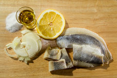 Fillet herring with onion and lemon. Fillet herring with lemon. Herring are very high in the long-chain Omega-3 fatty acids EPA and DHA. They are a source of Royalty Free Stock Photography