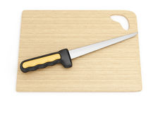 Fillet knife and cutting board. On white background. 3d rendering illustration Royalty Free Stock Photography