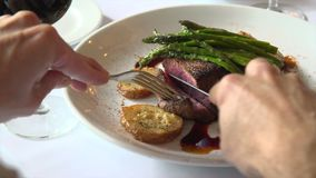 Fillet mignon being cut stock video footage