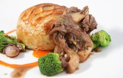 Fillet mignon and oyster mushroom Stock Photography