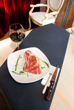 Fillet mignon steak at restaurant. Royalty Free Stock Photo
