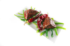 Fillet mignon on a white plate Stock Image