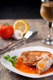 Fillet Of Fish And Red Sauce Royalty Free Stock Photography