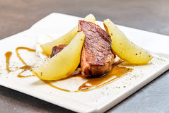 Fillet with pears. Gourmet top quality food. restaurant