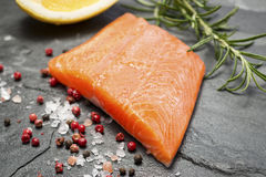Fillet of Rainbow Trout with Lemon and Pepper Stock Image