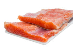 Fillet of rainbow trout on a light background Stock Images