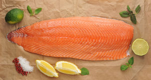Fillet of raw red fish - salmon Royalty Free Stock Photography