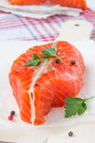 Fillet of red fish. On wooden board Stock Photo