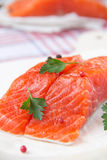 Fillet of red fish. On wooden board Royalty Free Stock Photography