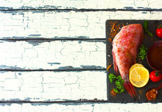 Fillet of red grouper and spices Royalty Free Stock Image