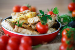 Fillet roasted turkey slices with vegetables Royalty Free Stock Image