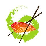 Salmon fillet and chopsticks. Fillet of salmon with chopsticks and wasabi Royalty Free Stock Images