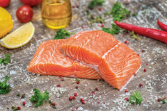Fillet of salmon. Fresh and beautiful salmon fillet on a wooden Royalty Free Stock Images
