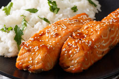 Fillet of salmon with honey, sesame and rice garnish close-up. h Royalty Free Stock Photography