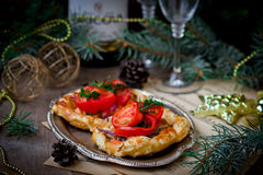 Fillet of a salmon in puff pastry Stock Photos