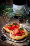 Fillet of a salmon in puff pastry Stock Photography