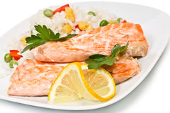 Fillet of salmon and rice with vegetables Royalty Free Stock Photography