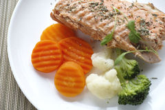 Fillet of salmon with vegetable Stock Photography