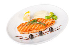 Fillet of salmon with vegetables Stock Image