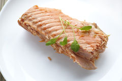 Fillet of salmon with watercress salad Stock Photo