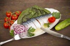 Fillet, salted mackerel Stock Photos
