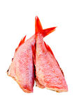Fillet of sea bass. Two carcasses of red grouper with a light shade on white background Royalty Free Stock Photography