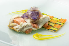 Fillet of sea bream and salmon interwoven with carrot and zucchi. Fish Dish Fillet of sea bream and salmon interwoven with carrot and zucchini Stock Image