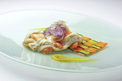Fillet of sea bream and salmon interwoven with carrot and zucchi Stock Images