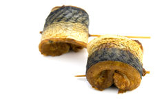 Fillet of smoked mackerel isolated Royalty Free Stock Photos