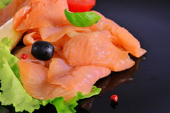 Fillet of smoked salmon Royalty Free Stock Images