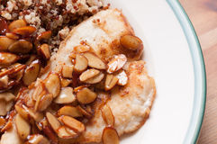 Fillet of sole with almonds Stock Photos