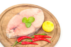 Fillet of Spanish Mackerel Slide on chopping block,Scomberomorus Royalty Free Stock Photography