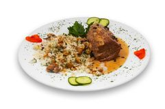 Fillet stake pepe verde. With rice and musrooms under special sauce, isolated Stock Image