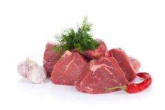 Fillet steak beef meat and spices. Isolated on white background Royalty Free Stock Images