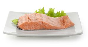 Fillet of trout with lettuce Stock Photo