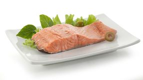Fillet of trout on the plate Royalty Free Stock Photos