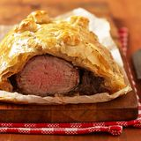 Fillet Wellington in puff pastry Stock Images