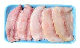 Filleted catfish. On tray isolated on white Royalty Free Stock Photo