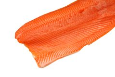 Filleted salmon. Isolated on white background Stock Photos