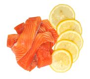 Filleted salmon and lemon Stock Photography